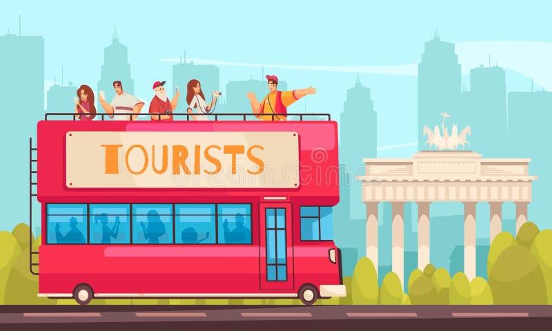 Composición de visita turístico de excursión de la excursión del autobús stock de ilustración