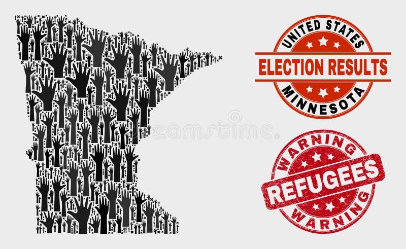 Composición de votar el mapa del estado de Minnesota y el sello amonestador de los refugiados de la desolación libre illustration