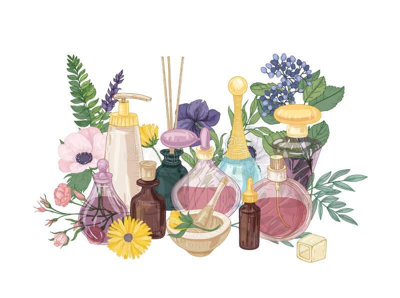 Composición decorativa con perfume o agua de retrete en las botellas de cristal de diversos formas y tamaños, incienso aromático libre illustration