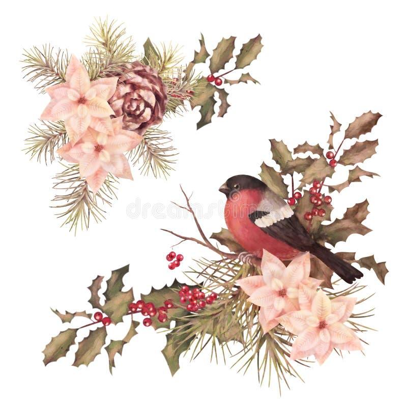 Composición decorativa de la acuarela retra de la Navidad stock de ilustración