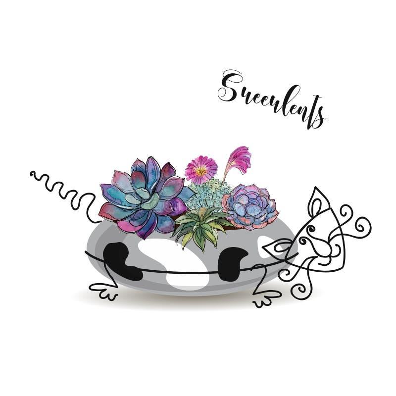 Composición decorativa de succulents En una maceta bajo la forma de gato manchado Acuarela de los gráficos Vector libre illustration