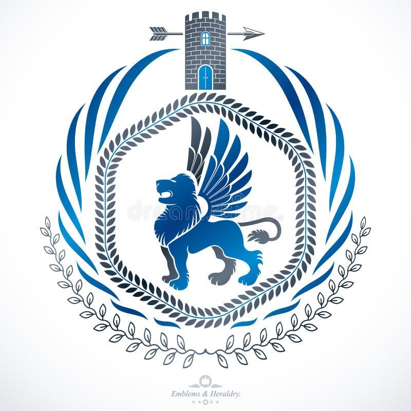 Composición decorativa del emblema del vintage, vector heráldico ilustración del vector