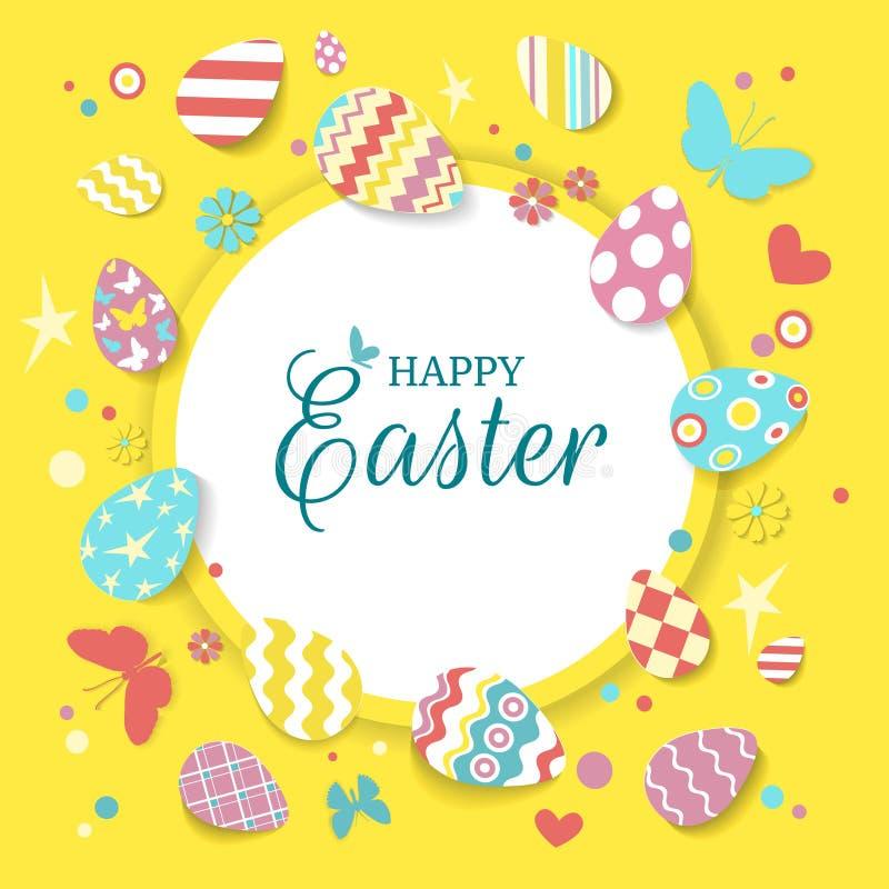 Composición decorativa del marco de los huevos de Pascua Tarjeta de felicitación feliz de Pascua con los huevos, las mariposas, l libre illustration