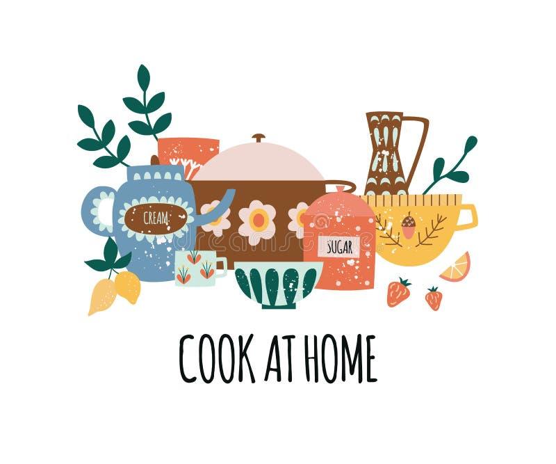 Composición del artículos de cocina del cántaro con el texto en estilo plano de la historieta stock de ilustración