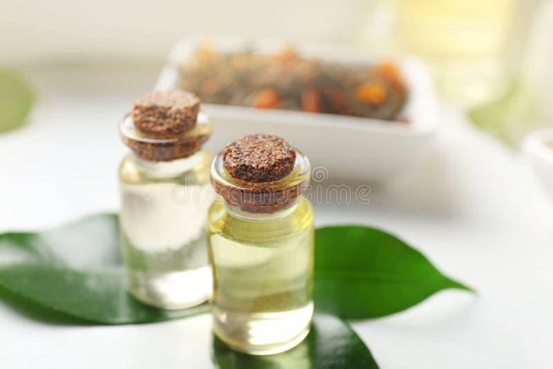 Composición del balneario con aceite del árbol del té imagen de archivo libre de regalías