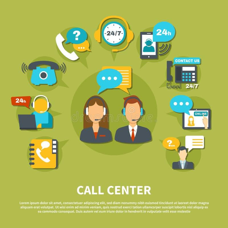 Composición del centro de atención telefónica stock de ilustración