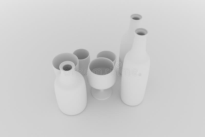 Composición del cgi, todavía del concepture vida, botella y vidrio para la textura del diseño, fondo Gris o b&w blanco y negro 3D stock de ilustración