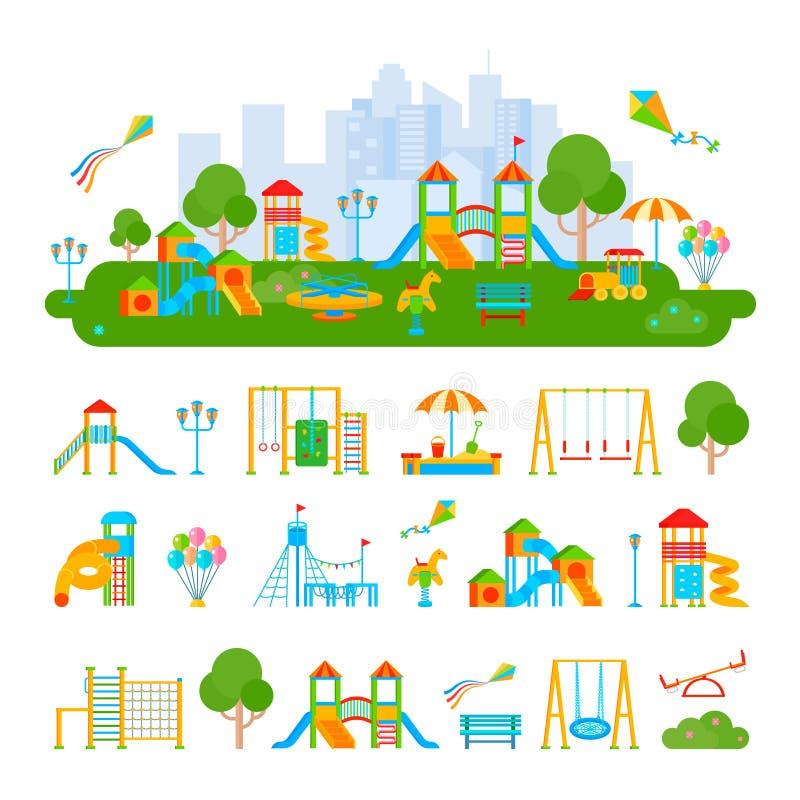 Composición del constructor del patio de los niños ilustración del vector