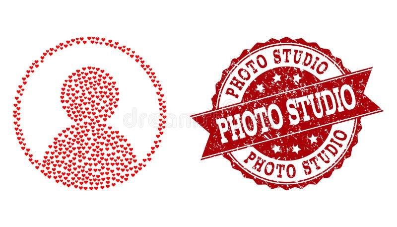 Composición del corazón del amor del icono del retrato del usuario y de la filigrana de goma ilustración del vector