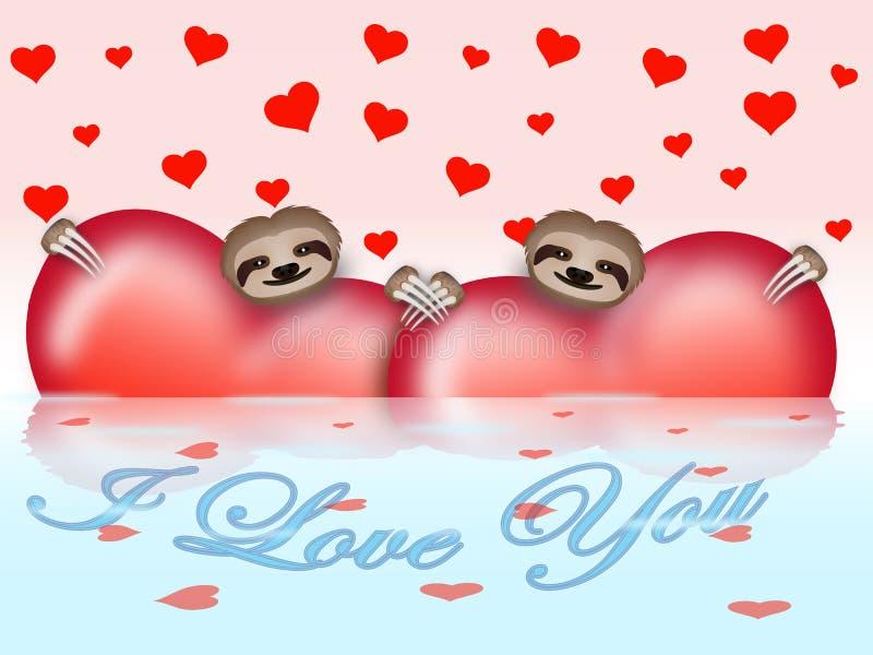 Composición del día de tarjeta del día de San Valentín con perezas fotografía de archivo libre de regalías
