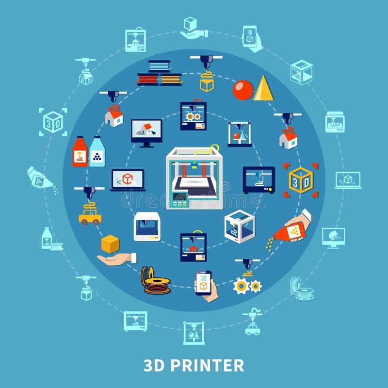 composición del diseño de la impresión 3d libre illustration