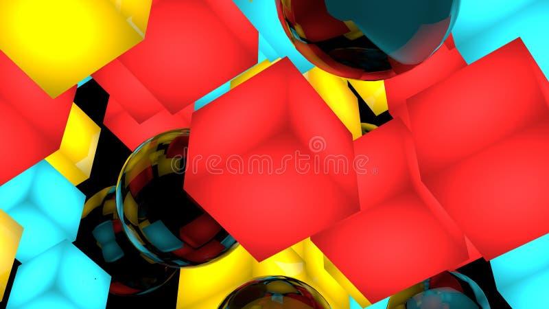 Composición del fondo con los cubos y las esferas 3d rinden la ilustración Aislado en negro libre illustration