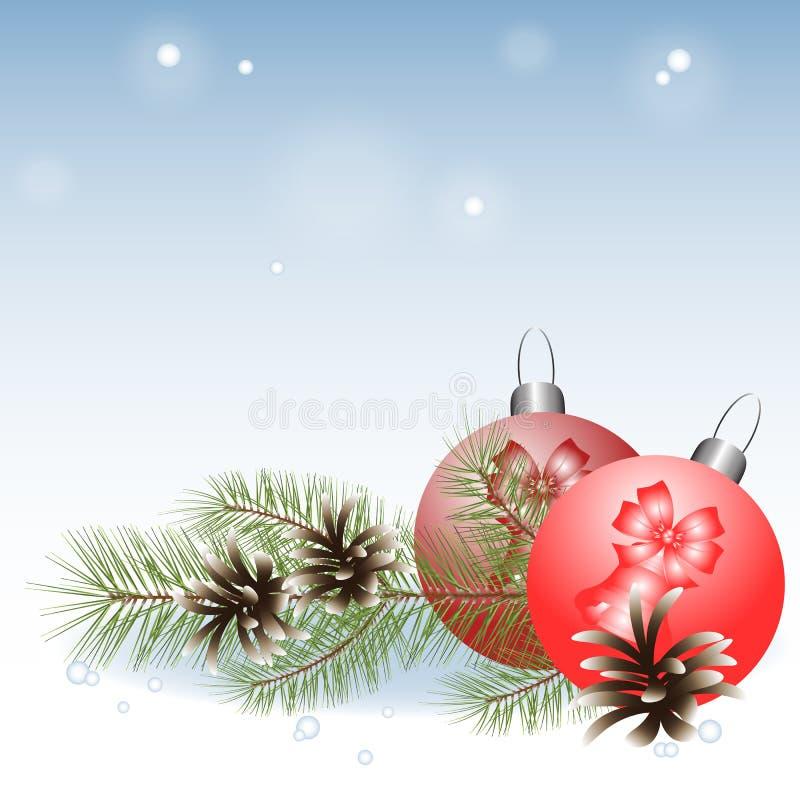Composición del invierno, rama del pino con las bolas de la Navidad libre illustration
