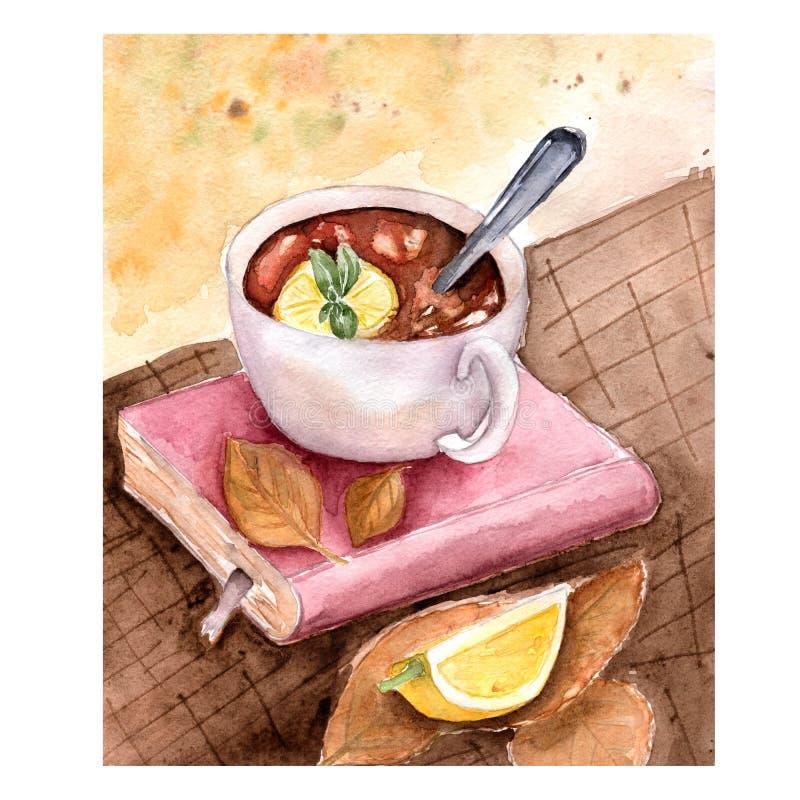 Composición del libro y de una taza de té con el limón y la menta con las hojas en la tabla de madera Ejemplo del otoño de la acu stock de ilustración