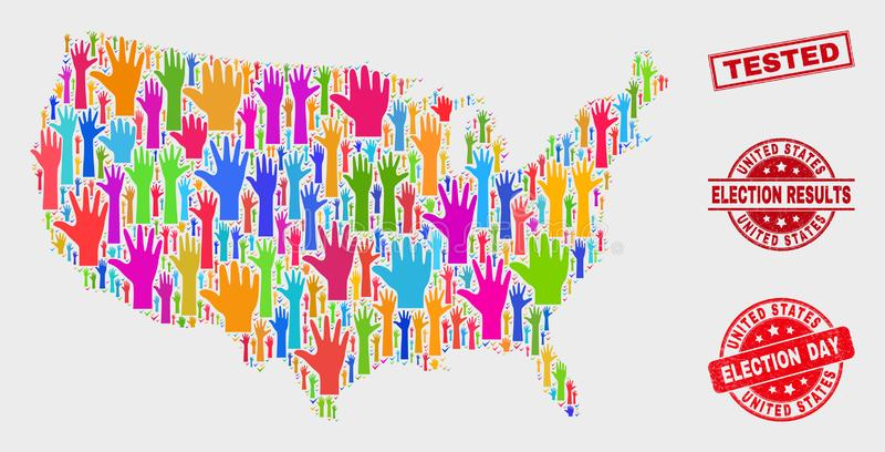 Composición del mapa de Estados Unidos de la elección y apenar el sello probado ilustración del vector