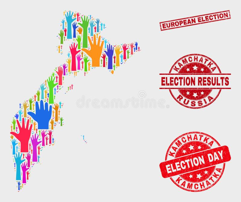 Composición del mapa de Kamchatka de la elección y de la filigrana rasguñada de la elección europea libre illustration