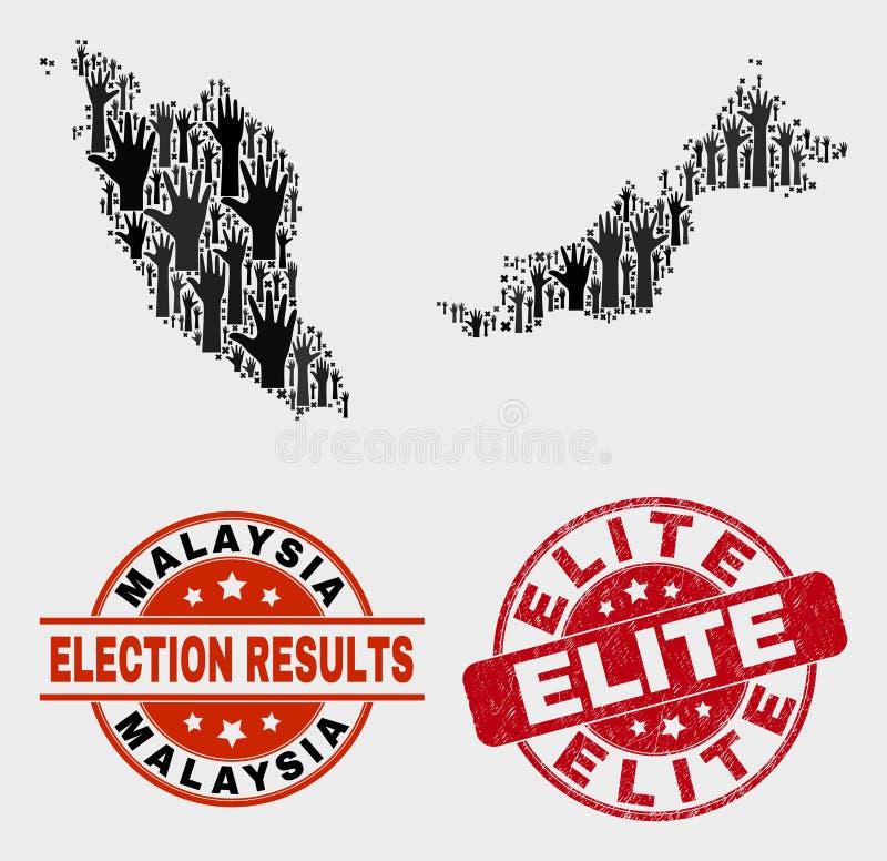 Composición del mapa de Malasia de la elección y del sello de la élite del Grunge ilustración del vector