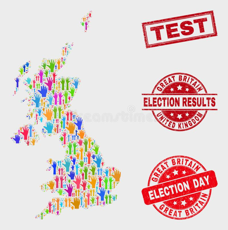 Composición del mapa de Reino Unido de la elección y del sello de prueba rasguñada stock de ilustración