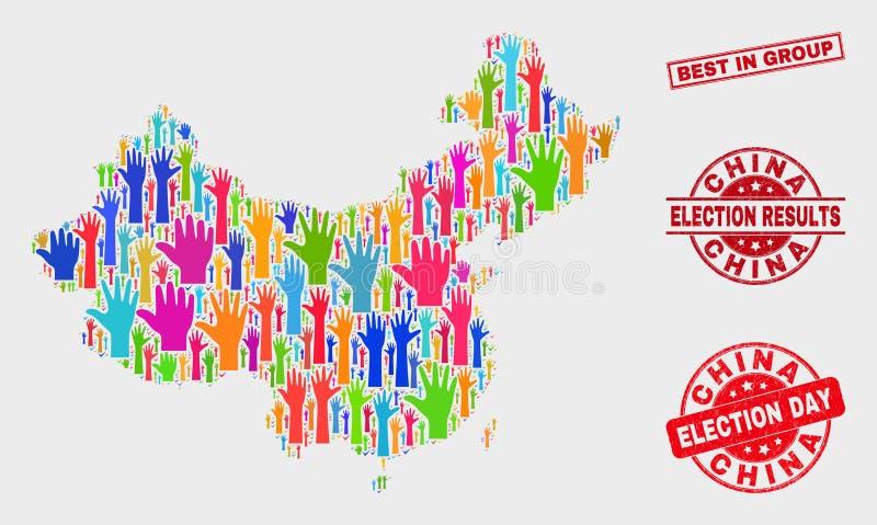 Composición del mapa electoral de China y del mejor rasguñado en sello del grupo stock de ilustración