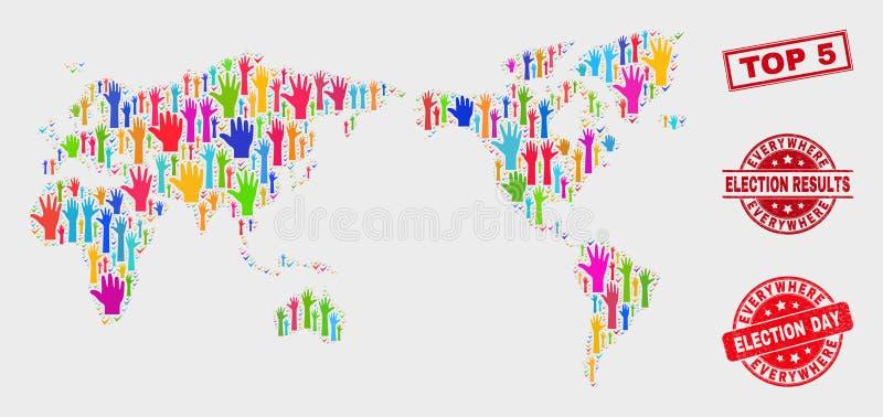 Composición del mapa del mundo de la elección y del sello del top 5 del Grunge stock de ilustración