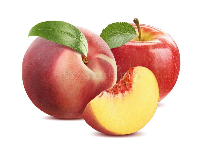 Composición del melocotón y de la manzana aislada en el fondo blanco foto de archivo