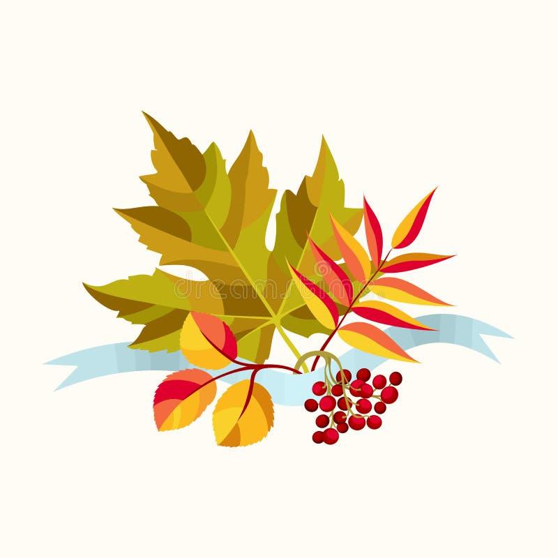 Composición del otoño con las hojas ilustración del vector