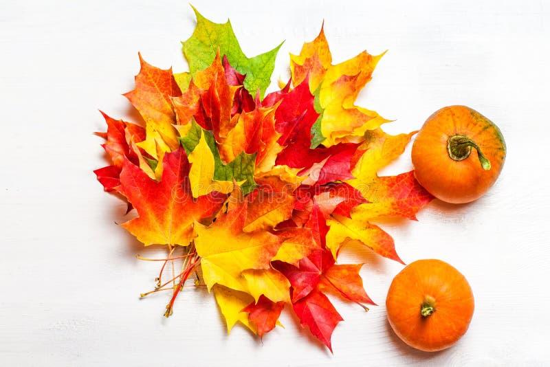 Composición del otoño con las hojas de arce y las calabazas amarillas l plano fotos de archivo