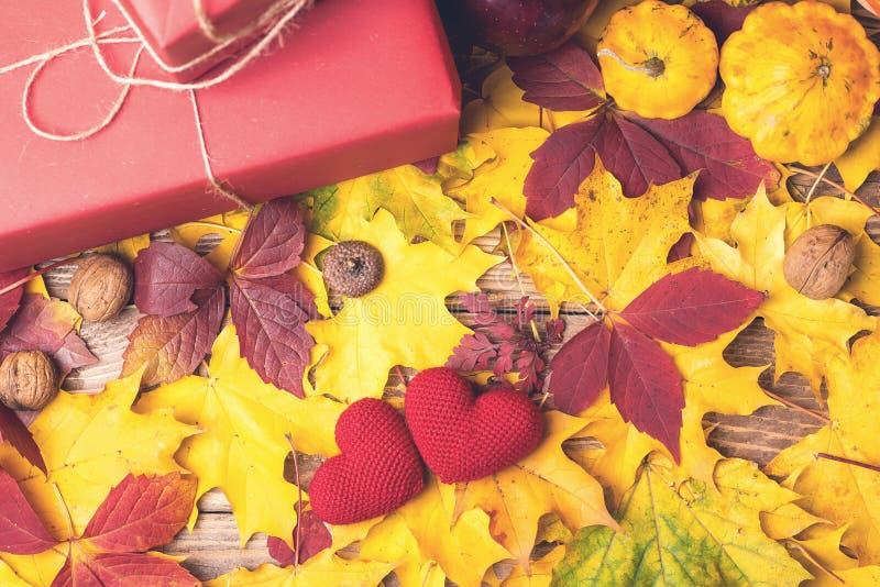 Composición del otoño con los regalos, calabazas, manzana, nueces, bellota, corazones hechos punto, hojas de la caída Copie el es fotografía de archivo