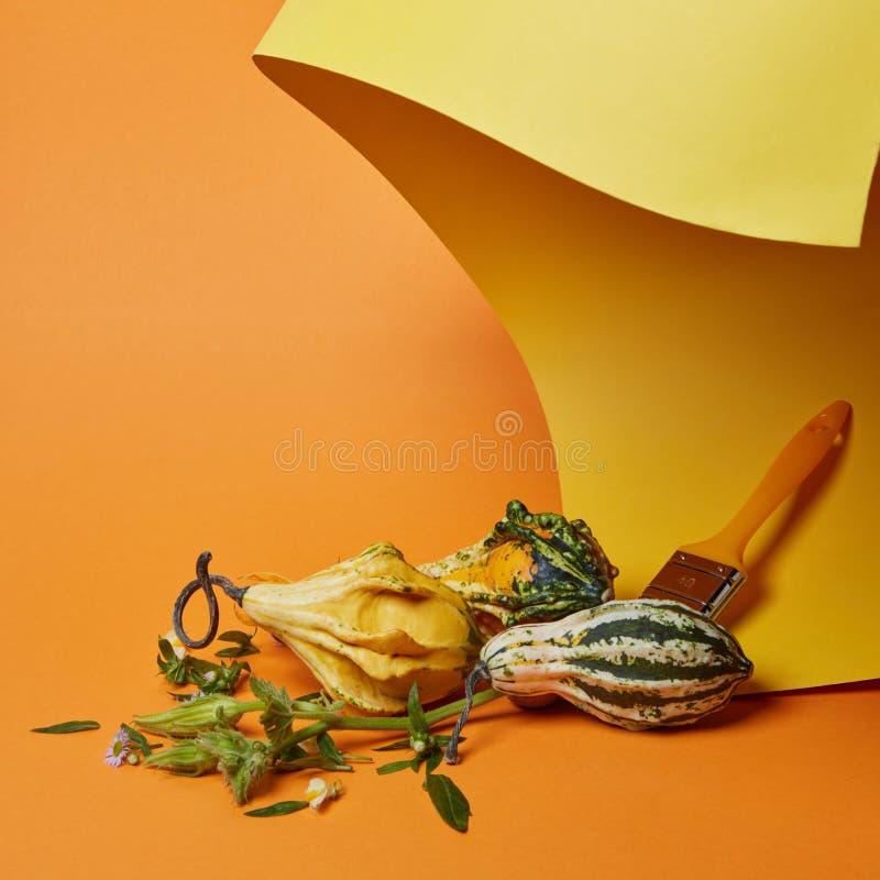 Composición del otoño con un cepillo y las calabazas fotografía de archivo libre de regalías