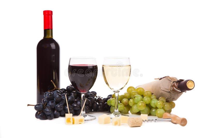 Composición del queso y de las uvas del vino fotos de archivo libres de regalías