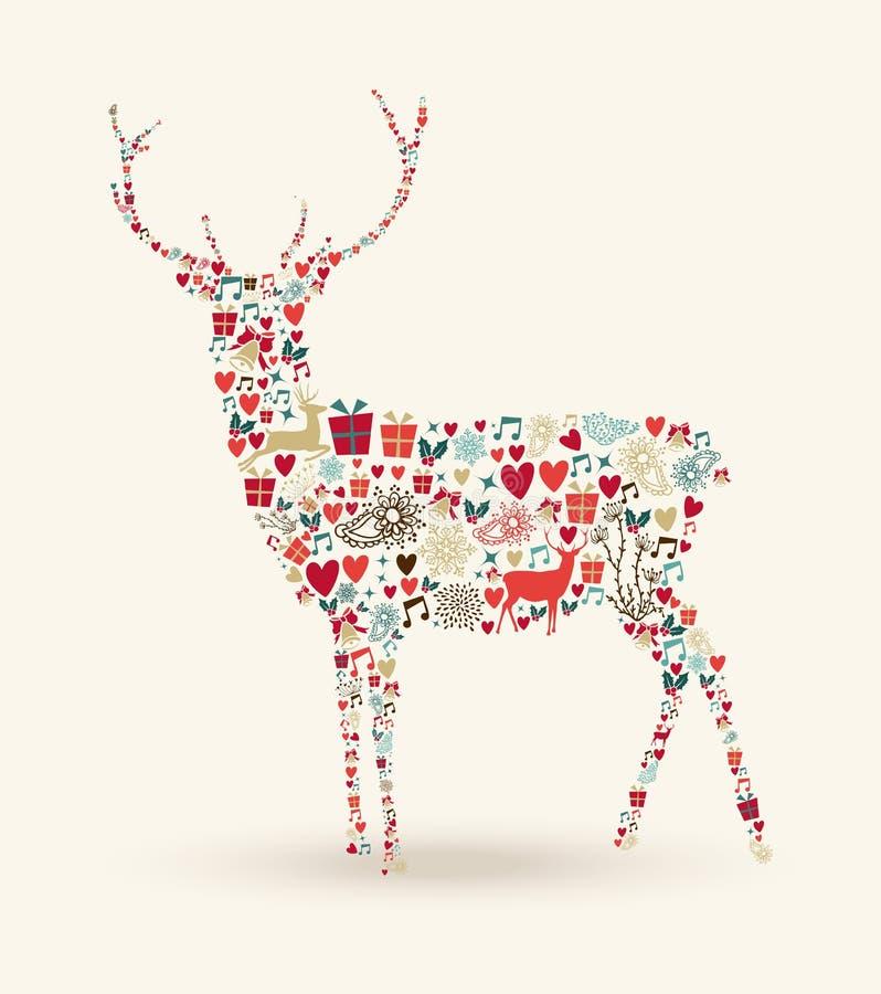 Composición del reno de la Navidad stock de ilustración