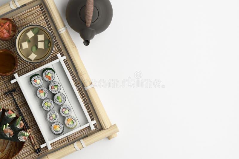 Composición del sushi y de los rollos fijados en un fondo blanco Bandera con el espacio de la copia para el texto Un sistema de c ilustración del vector
