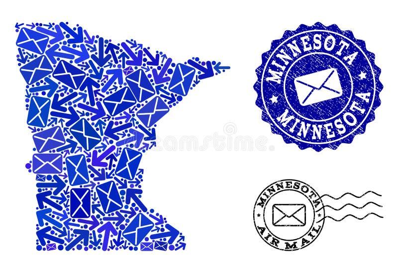 Composición del tráfico del poste del mapa de mosaico de los sellos del estado y de la desolación de Minnesota ilustración del vector
