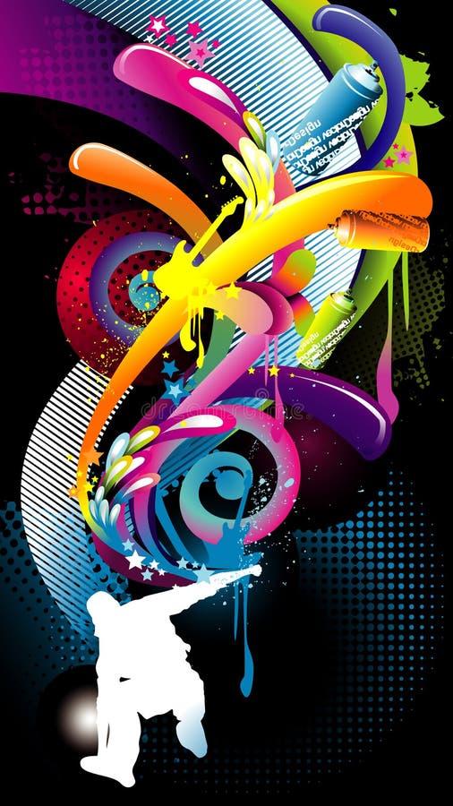 Composición del vector del color del patinador libre illustration