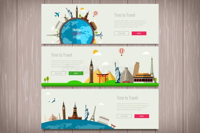 Composición del viaje con las señales famosas del mundo Viaje y turismo Plantilla del sitio web del concepto Vector Diseño plano  stock de ilustración