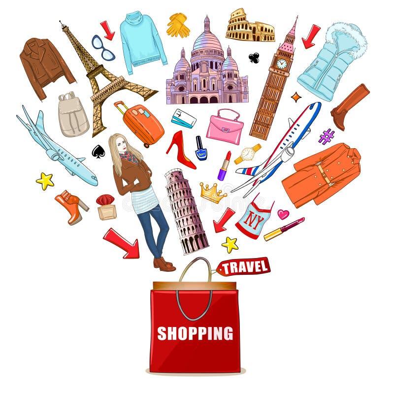 Composición del viaje de Europa de las compras stock de ilustración