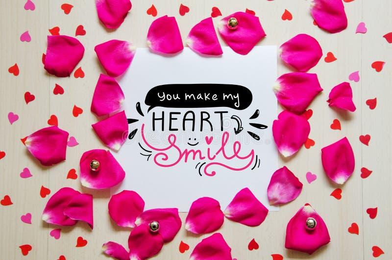 Composición del vintage del día del ` s de la tarjeta del día de San Valentín del St de la nota del saludo foto de archivo libre de regalías