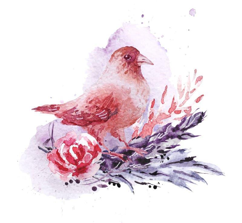 Composición dibujada mano artística de la acuarela con descensos y contextos ilustrados de la pintura stock de ilustración