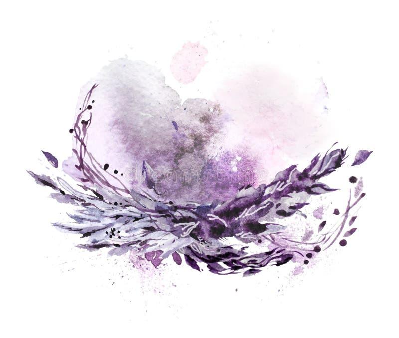 Composición dibujada mano artística de la acuarela con descensos y contextos ilustrados de la pintura libre illustration