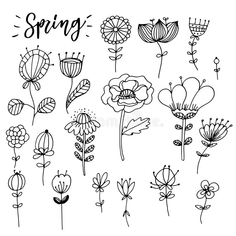 Composición dibujada mano de la flor del zentangle Elementos del vector para los colorbooks stock de ilustración