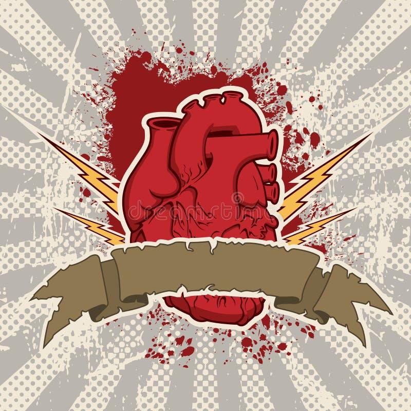 Composición eléctrica del vector de la bandera del corazón libre illustration
