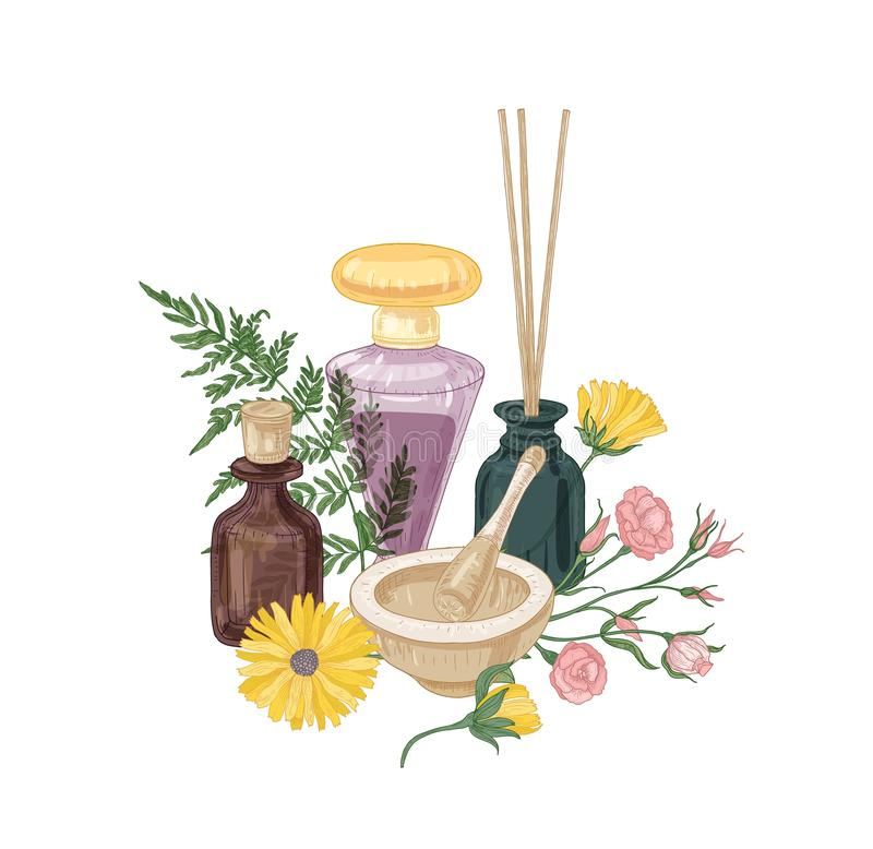 Composición elegante con los cosméticos, las fragancias o los odorantes del aroma en las botellas de cristal, el mortero y la maj stock de ilustración