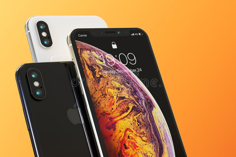 Composición elegante de 3 de Apple teléfonos del iPhone XS libre illustration