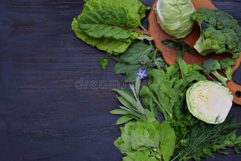 Composición en un fondo oscuro de las verduras frondosas verdes que contienen el ácido fólico, riboflavina, vitamina B9, B2, K, C fotos de archivo
