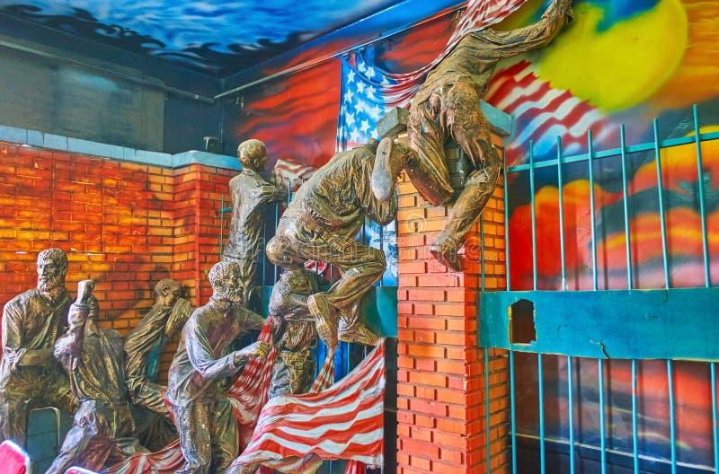 Composición escultural en la embajada anterior de los E.E.U.U., Teherán, Irán imagen de archivo