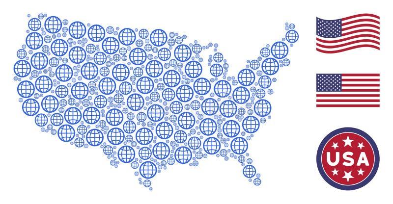 Composición estilizada del mapa de los E.E.U.U. del globo ilustración del vector