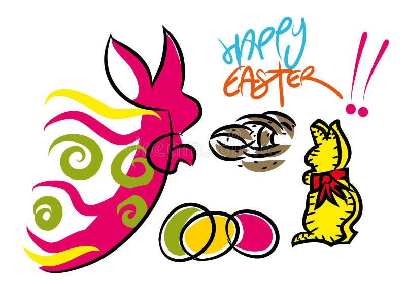 Composición feliz colorida de la tarjeta de felicitación de Pascua ilustración del vector