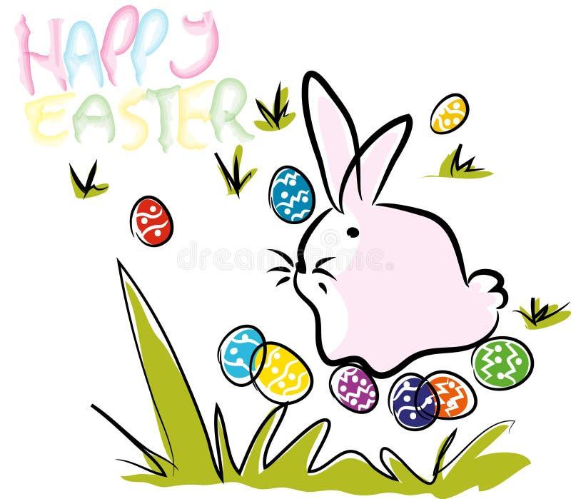 Composición feliz colorida de la tarjeta de felicitación de Pascua y de los huevos stock de ilustración