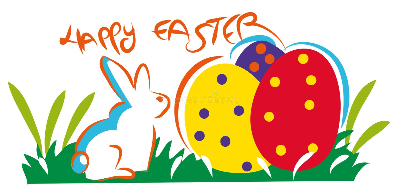 Composición feliz colorida de Pascua stock de ilustración