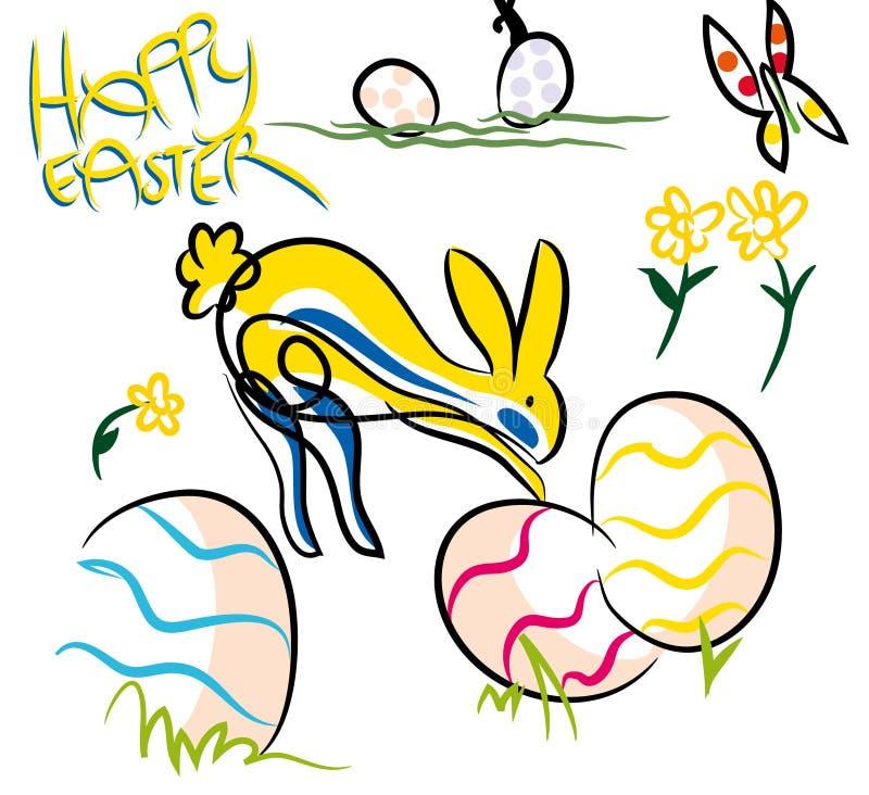 Composición feliz colorida de Pascua libre illustration